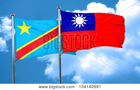Democratic republic of the congo flag with Taiwan flag, 3D rende