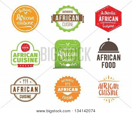 African cuisine, authentic traditional food typographic design set. Vector logo, label, tag or badge for restaurant and menu. Isolated.