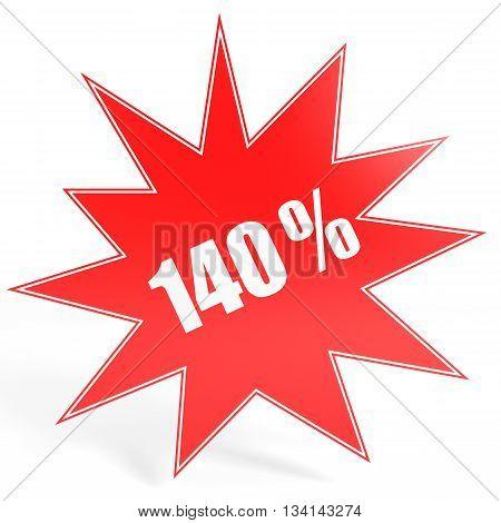 Discount 140 Percent Off. 3D Illustration.