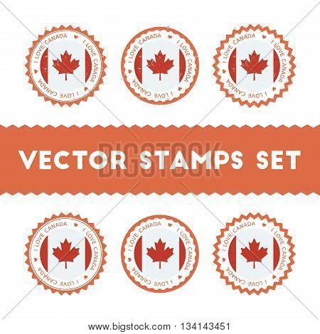 I Love Canada Vector Stamps Set. Retro Patriotic Country Flag Badges. National Flags Vintage Round S