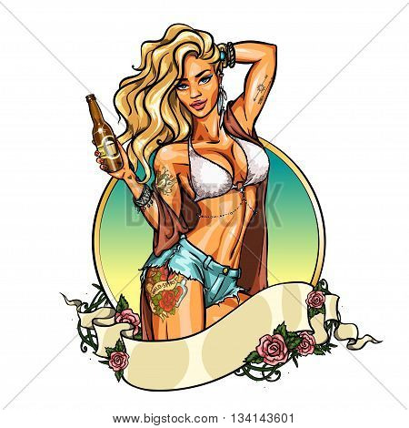 Party girl in bikini with beer bottle. Label with ribbon banner. Pin Up