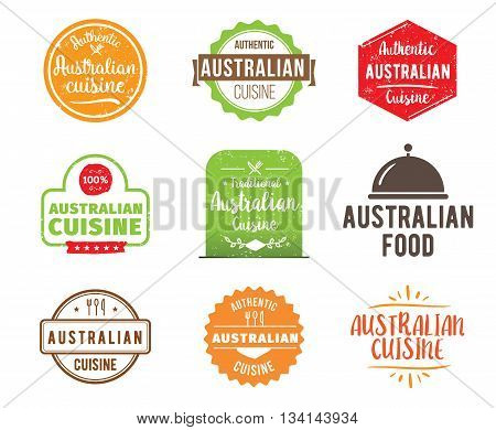 Australian cuisine, authentic traditional food typographic design set. Vector logo, label, tag or badge for restaurant and menu. Isolated.
