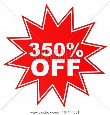 Discount 350 Percent Off. 3D Illustration.