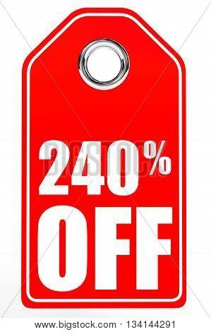 Discount 240 Percent Off. 3D Illustration.