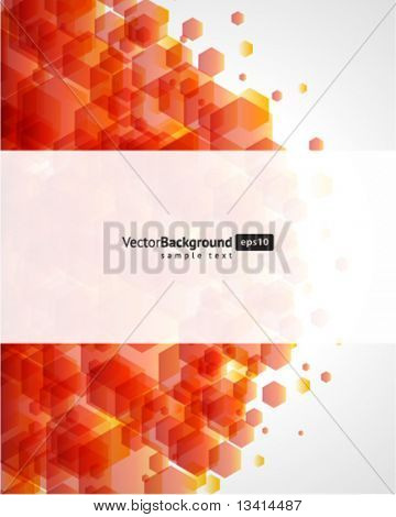 Abstract fly hexagon shapes vector background. Eps 10