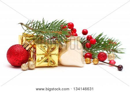 Christmas concept - fir branch red berry red decor and gold gift isolated on white
