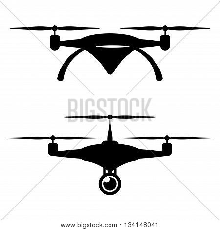 Set of two black silhouettes of drones with camera