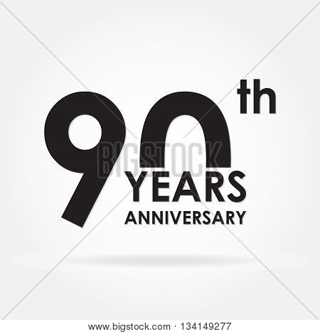 90 years anniversary emblem. Anniversary icon or label. 90 years celebration and congratulation design element. Vector illustration.