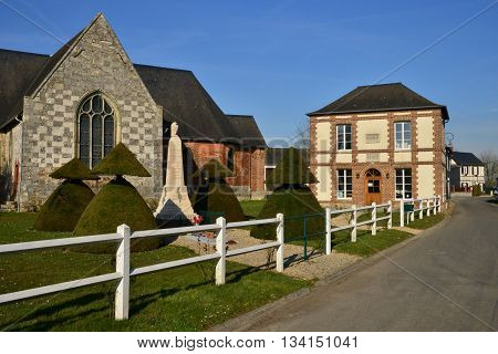 Fleury la Foret France - march 15 2016 : the picturesque village in winter