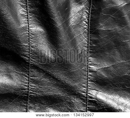 Abstract Black Leather Texture With Stiches.