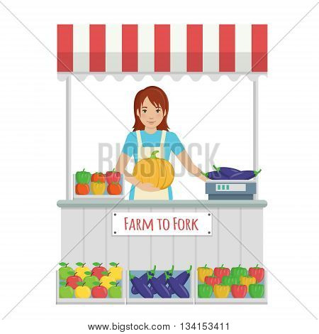 Illustration of a young lady in apron working at farmer market stall, selling organic fruit and vegetables from farm to fork, weighting the goods and serving to customers.