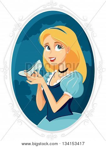 Princess Cinderella Holding Magic Shoe Vector Cartoon