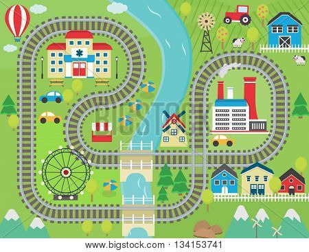 Lovely city landscape train track play mat for children activity and entertainment. Sunny city landscape with mountains, farm, factory, buildings, plants and endless train rails.