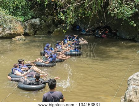 VANG VIENG LAOS -May 6th: Tham Nam (Water Cave) for cave tubing on May 6th 2016 in Vang Vieng Laos. Vang Vieng is a tourism-oriented town in Laos lies on the Nam Song river.