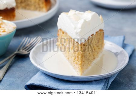 Three milk cake, tres leches cake with coconut. Traditional dessert of Latin America.
