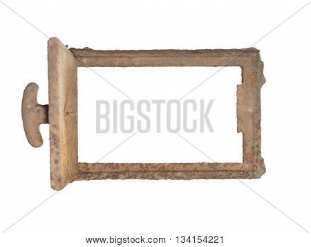 Old rusty furnace door isolated on white background.