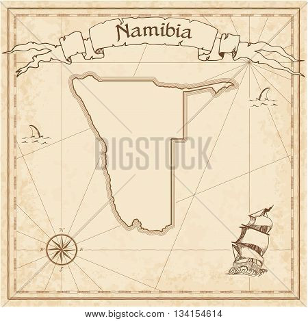 Namibia Old Treasure Map. Sepia Engraved Template Of Pirate Map. Stylized Pirate Map On Vintage Pape