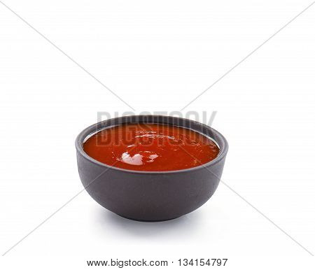 Pice Sauce  In Brown Bowl Isolated On White Background. Closeup.