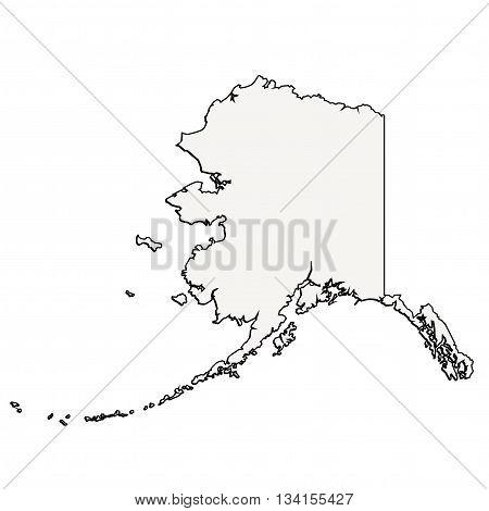 Vector Alaska State 3D Outline Map Illustration