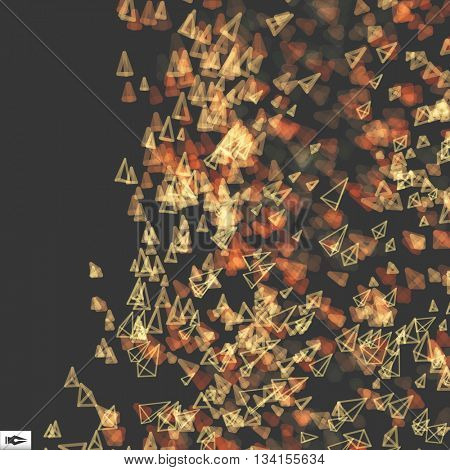 Array with Dynamic Emitted Particles. Abstract Dynamic Background. Bokeh Effect. Composition with Motion Effect. Vector illustration.