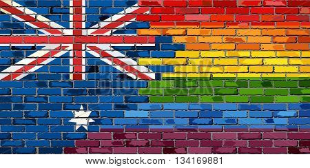 Brick Wall Australia and Gay flags - Illustration,  Australian flag & Rainbow flag  on brick textured background,  Brick Wall Australia and Gay flags - Illustration,  Australian flag & Rainbow flag  on brick textured background,  Abstract grunge Australia