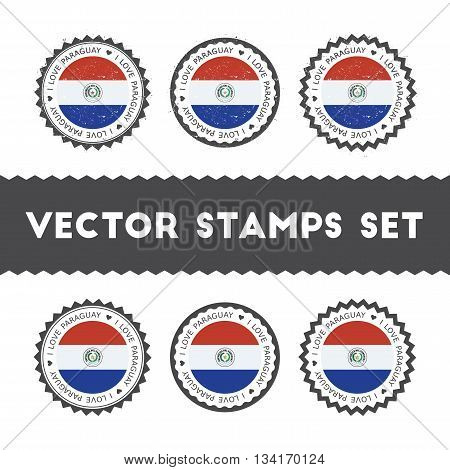 I Love Paraguay Vector Stamps Set. Retro Patriotic Country Flag Badges. National Flags Vintage Round
