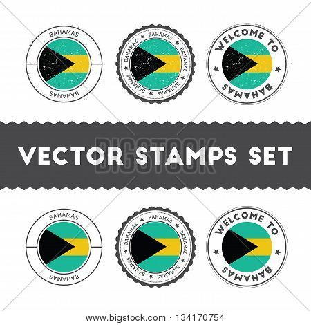 Bahamian Flag Rubber Stamps Set. National Flags Grunge Stamps. Country Round Badges Collection.