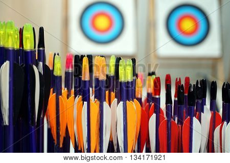 Archery Arrows With Targets In Out Of Focus Background