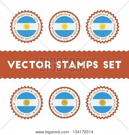I Love Argentina Vector Stamps Set. Retro Patriotic Country Flag Badges. National Flags Vintage Roun