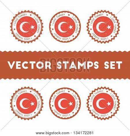 I Love Turkey Vector Stamps Set. Retro Patriotic Country Flag Badges. National Flags Vintage Round S