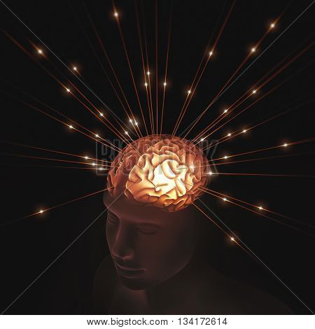 3D illustration. Human head translucent illuminated by pulses of energy entering the brain.