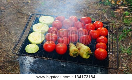 Tomatoes , peppers and zucchini are fried on the grill at a picnic in the summer