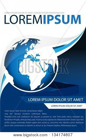 Background brochure, flyer or poster with a globe in blue color.