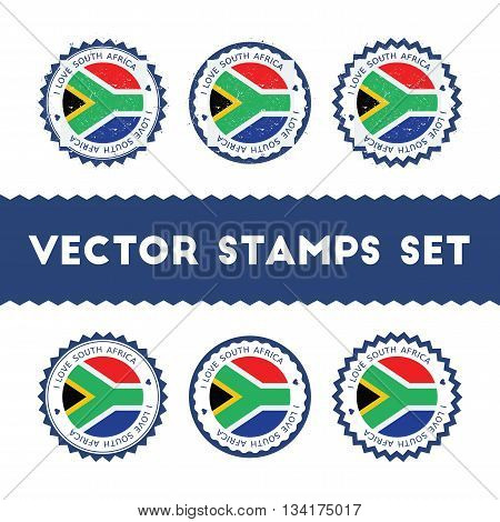 I Love South Africa Vector Stamps Set. Retro Patriotic Country Flag Badges. National Flags Vintage R