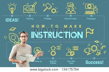Instruction Document Guidebook Handbook Help Concept