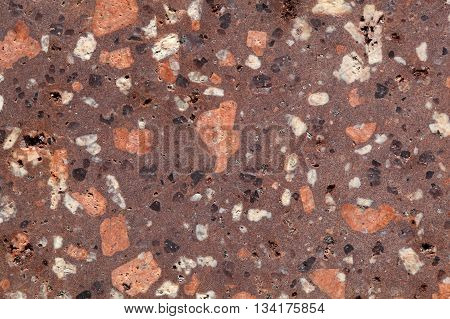 Surface of a porphyry rhyolite rock from central Europe Saxony-Anhalt. The rock contains fragments of feldspars quartz and amphibole minerals in a fine grained matrix.