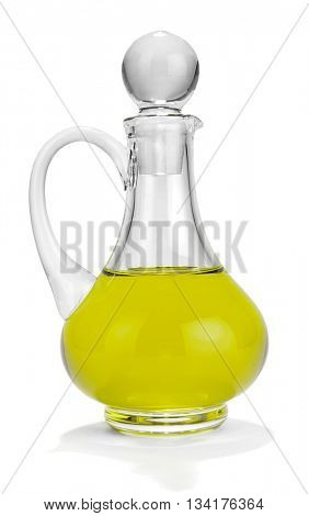 Olive oil bottle isolated on white background.