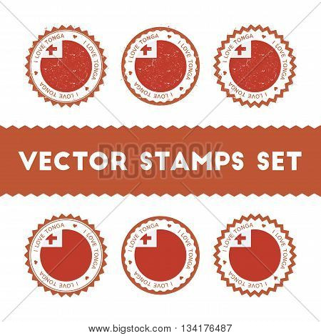 I Love Tonga Vector Stamps Set. Retro Patriotic Country Flag Badges. National Flags Vintage Round Si