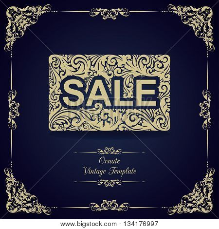Vintage template with ornamental decorative frame, card  and text SALE