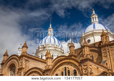 Close up Domes of Cuenca Cathedral, Ecuador
