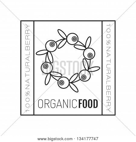 Organic food. Logo, badge and label for healthy eating with berry icon, silhouette. Vector illustration