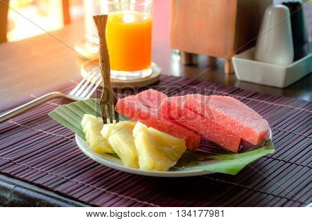 Small Fruit Plate On Bamboo Mat