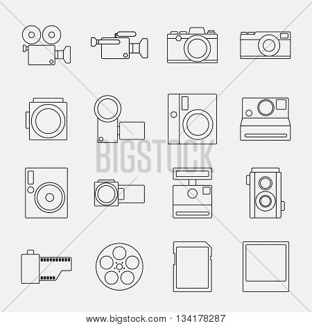 Set of camera outline style icons vector illustration