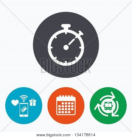 Timer sign icon. Stopwatch symbol. Mobile payments, calendar and wifi icons. Bus shuttle.