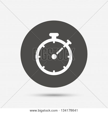 Timer sign icon. Stopwatch symbol. Gray circle button with icon. Vector