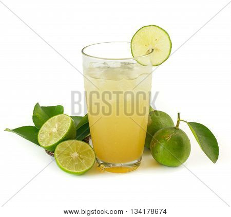 Glass Of Lime Juice With Ice On White
