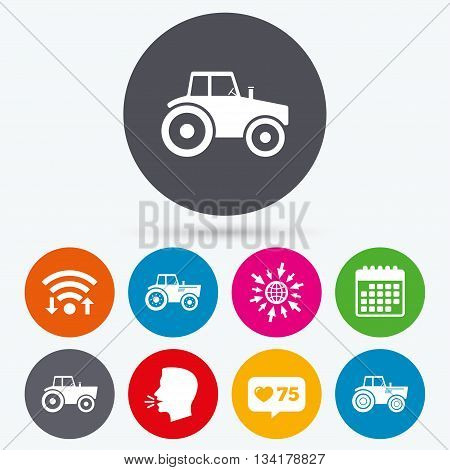 Wifi, like counter and calendar icons. Tractor icons. Agricultural industry transport symbols. Human talk, go to web.