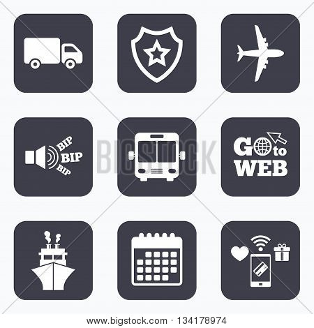 Mobile payments, wifi and calendar icons. Transport icons. Truck, Airplane, Public bus and Ship signs. Shipping delivery symbol. Air mail delivery sign. Go to web symbol.