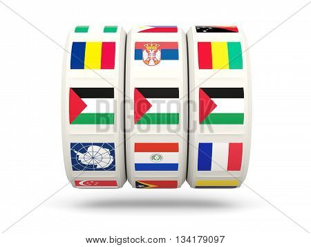 Slots With Flag Of Palestinian Territory