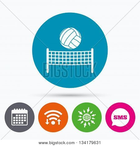 Wifi, Sms and calendar icons. Volleyball net with ball sign icon. Beach sport symbol. Go to web globe.